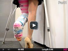Tara - Fashionably Casted - Cast Art at it's Best Leg Cast, Cast Art, Full Size Photo, Crutches, Video Footage, High Heel, It Hurts, Model, Gypsum