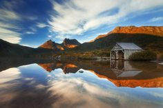 Reflected Icon - Dove Lake <br />Cradle Mountain National Park <br />Tasmania</p>  <p>This shot was taken on a beautifully still morning in one of the most beautiful places on earth - Cradle Mountain National park in Tasmanias highlands. There were quite a few other photographers there that morning to share in the beauty in Easter 2011.