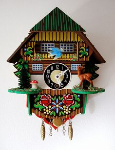 I decided I couldn't live without a cuckoo clock any longer, and so I accidentally bought four from ebay.  Accidentally? Well I can't actually provide a rational explanantion of how I ended up buying four different ones. Anyhow this one is my favourite.