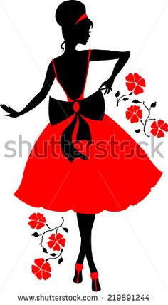 ESZAdesign (Svetlana Zdanchuk) Retro woman red and black silhouette with flowers - stock vector