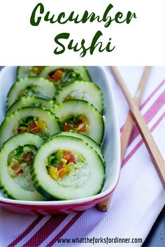 Cucumber Sushi - Quick easy and refreshing way to use cucumbers. Fresh cucumbers stuffed with sticky rice, veggies, and avocado