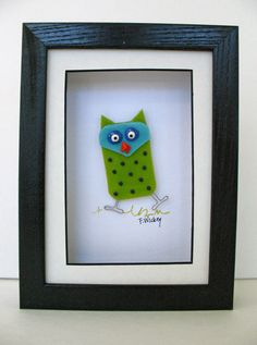 Whimsical Fun Fused Glass Owl in Shadowbox by FaithWickey on Etsy Slumped Glass, Fused Glass Art, Fire Glass, Sea Glass, Bee Creative, Owl Crafts, Mosaic Crafts, Stained Glass Panels, Glass Animals