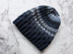 Wool knit beanie: handknit hat in blue and grey. Made in Ireland. Beanie for him. Beanie for her. by AranAccessories on Etsy Mens Hat Knitting Pattern, Hand Knitting, Knitting Patterns, Cable Knit Hat, Knit Beanie, Beanie Hats, Knit In The Round, Wool Yarn, Hats For Men