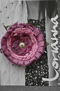 purple shabby chic flower brooch
