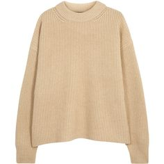 THE ROW Delia ribbed camel hair jumper found on Polyvore featuring tops, sweaters, ribbed sweater, rib top, beige top, drop shoulder sweater and rib sweater