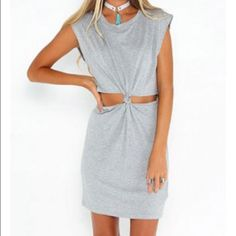 ⭐️New arrival! Gray cut out twisted dress Please see last photo for item description and size chart. Available in sizes small, medium, and large. Comment below which size you like and I will make a reserved listing for you. Not listed brand. Instagram: heartofspringboutique Brandy Melville Dresses Midi