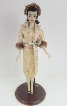 Barbie Doll 1960 Vintage  #3 Ponytail Brunette + Evening Splendour #961 Outfit #DollswithClothingAccessories