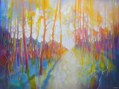 The Truth is Out There is a 48x36x1.5 inches large oil painting of a rainbow-coloured woodland path with a small deer watching from the trees Oil Painting Gallery, Oil Painting Abstract, Original Art, Original Paintings, Deer Paintings, Just Keep Walking, Oil On Canvas, Canvas Art, Small Deer