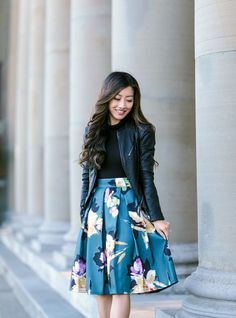 floral skirt vegan leather jacket outfit extra petite blog