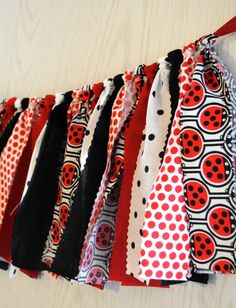 Ladybug Party Fabric Tie Garland