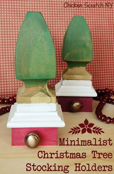 Minimalist Christmas Tree Stocking Holders - An easy #DIY woodworking project for simplified #Christmas #Stockings