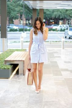What I Wore: Baby Blue Tie Waist Dress Style The Girl