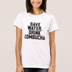 Save Water Drink Kombucha For Vegans T-Shirt - vegan personalize diy customize unique