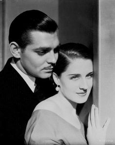 Norma Shearer with Clark Gable in a publicity shot for 'Strange Interlude'…
