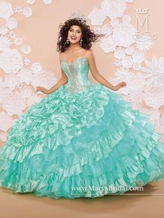 Mary's Mint Quinceanera Dresses 2015 New Sweetheart Beaded Ruffles Satin Organza Ball Gown Prom Gowns with Shoulder Straps And Lace Up Back from Nicedressonline,$296.39 | DHgate.com