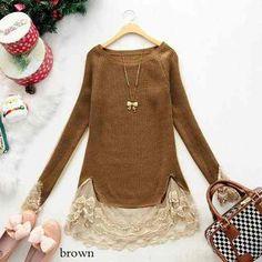 Sweater Con Encaje Color Caramelo