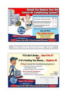Air Conditioning and Heating Postcard Samples