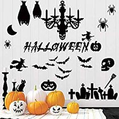 45 Pcs Halloween Wall Decals Large Removable Wall Stickers Black Window Clings P Halloween Window Clings, Halloween Window Decorations, Halloween Wall Decor, Black Windows, Removable Wall Stickers, White Pumpkins, Vinyl Art, Simple Designs, Wall Decals