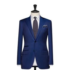 Tailored 2-Piece Suit – Fabric 4581 Plain Blue Cloth weight: 240g Composition: 100% Wool Super 150's