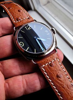 Precista Italian non-LE PRS-20 - I really like this 'small' case in a Panerai style. (No Rose Gold for me though, please). #update: not rose gold, just steel reflecting the brown strap and skintone from person holding.