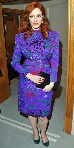 """Christina Hendricks earned a 90% """"miss"""" vote for this '80s-inspired frock. This belongs in my Blanche Devereaux-style closet!"""