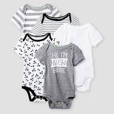 Baby Short-Sleeve 5 Pack Bodysuit Baby Cat & Jack™ - Heather Grey/Ebony : Target