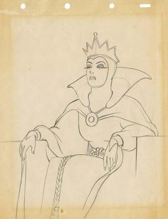 Evil Queen original production drawing from Snow White and the Seven Dwarfs Disney Sketches, Disney Drawings, Cartoon Drawings, Up Animation, Walt Disney Animation Studios, Arte Disney, Disney Art, Disney Evil Queen, Snow White Disney