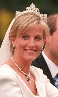 COUNTESS OF WESSEX  When Britain's Prince Edward married Sophie Rhys-Jones in 1999, royal enthusiasts were surprised she donned a never-before-seen tiara. It turns out the scrollwork-motif diamond band came from the Queen's private collection. Its exact origins, however, have never been confirmed by Buckingham Palace.