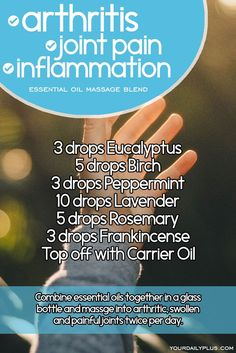 Essential oil massage blend for arthritis joint pain and inflammation. Try this natural treatment using Eucalyptus Birch Peppermint Lavender Rosemary and Frankincense. Essential Oils For Massage, Essential Oils Guide, Doterra Essential Oils, Young Living Essential Oils, Essential Oil Blends, Arthritis Essential Oil Blend, Peppermint Essential Oil Uses, Frankincense Essential Oil Uses, Peppermint Oil