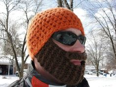 "Crochet Beard Hat - Okay ""Men in My Life"", look for this in your stocking!!!"
