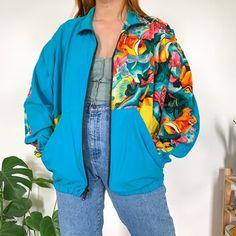 80s Fashion, Street Fashion, Lightweight Trench Coat, Rain Jacket, Bomber Jacket, Fish Patterns, Colorful Fish, Cool Jackets, Jacket Style