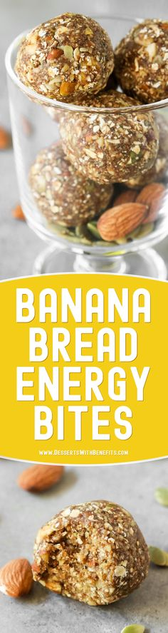 These BananaBread No Bake Energy Bitesare soft, fudgy, sweet, and delicious, it's hard to believe they're raw, vegan, and gluten free, with no added sugar! They're fast and easy to make with only seven ingredients required. Satisfy your banana bread cravings the healthy way with this energy bites recipe!