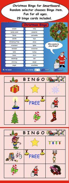 Christmas Bingo for Smartboard.  Random selector chooses Bingo item.  Great fun for all ages.  $