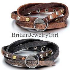 Multi-strand Braided Leather Round Rivet Bracelet for Men Women Wristband Wrap | eBay