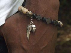 Men Bracelet Hand Jewelry For Him Black Lava Bracelet Men Beaded Stretch Bracelet Soapstone Swarovski Bracelet Hamitite Cross Bracelet