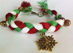 Red green white braided bracelet with snowflake by BeadingByJenn #jewelry #Christmas #christmasjewelry #snowflake #braidedbracelet #handmadejewelry #beadingbyjenn #etsy #holidayjewelry #redwhitegreen #christmascolors #accessories #friendshipbracelet #girls #teens #womens #textilebracelet #fashion