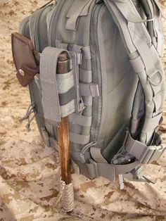 Maxpedition universal flashlight/ baton sheath--good way to carry axe Outdoor Survival Gear, Camping Survival, Camping Gear, Outdoor Gear, Tactical Equipment, Survival Equipment, Tactical Backpack, Bushcraft Backpack, Survival Backpack