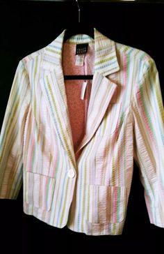 Tracy Evans Work Crop Blazer stripped Size L white pink blue green 3/4 sleeve    eBay
