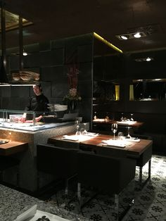 99 Shushi bar,tenor viñas,4. Barcelona Restaurant Interior Design, Black Kitchens, Barcelona, Cook, Flooring, Navy, Table, Furniture, Home Decor