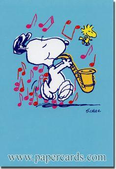 Mientras tenga vida, nunca olvidare esta tarjeta ... Snoopy playing Saxophone
