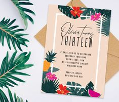 Tropical Hawaiian Birthday Invitation For Women Or Teens Printable Digital File Only
