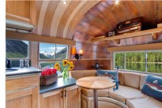 """This one-of-a-kind 1954 Airstream Flying Cloud was originally used as a hunting and fishing lodge near Goose Lake, Oregon, before being meticulously restored by Timeless Travel Trailers, the premiere custom travel-trailer builder in North America. Procured specifically for Orvis, one of America's oldest mail order retailers, this trailer was transported to Timeless Travel Trailers' facility in Denver, Colorado, for a complete artisan rebuild. According to Orvis website, """"no detail was…"""