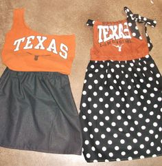 DIY t shirt dresses- better get to work on these! Only not Texas Longhorns, TEXAS TECH! Do It Yourself Fashion, Cute Crafts, Creative Crafts, T Shirt Diy, Diy Clothing, Look Cool, Texas Longhorns, Refashion, Sewing Hacks