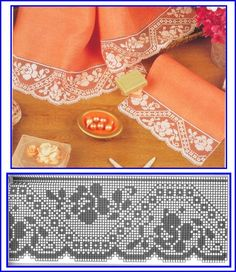 Bico com Rosa em Crochê - / Ned Barred with Rose into Crocheted - Filet Crochet Charts, Crochet Motifs, Crochet Borders, Crochet Flower Patterns, Crochet Diagram, Tatting Patterns, Thread Crochet, Crochet Doilies, Crochet Flowers
