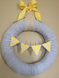Blue Seersucker Baby Boy Wreath w/name for by AnnaMossHome on Etsy, $35.00