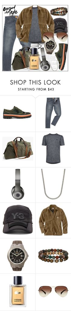 """Men's Wear"" by marietate365 ❤ liked on Polyvore featuring Valentino, HUGO, J.Crew, Under Armour, Beats by Dr. Dre, Rhona Sutton, Y-3, Carhartt, Timex and Dee Berkley"