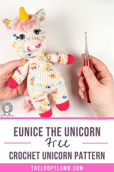 This free crochet unicorn pattern from The Loopy Lamb is so cute and easy to make! This amigurumi unicorn was designed to minimize sewing/seaming and features a really fun, furry mane and tail which are deceptively simple to make. Head on over to theloopylamb.com to check out this free crochet unicorn pattern today. Don't forget to save this to your amigurumi pattern or crochet toy pattern boards for later. #weCmay21 Crochet Unicorn Pattern, Crochet Animal Amigurumi, Crochet Patterns Amigurumi, Crochet Animals, Crochet Dolls, Crochet Yarn, Cute Crochet, Chrochet, Stuffed Animal Patterns