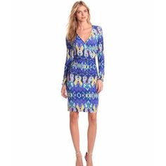Jones New York Ikat print dress New with tag. Size: XL. Blue dress with multicolored Ikat print, bloussant sleeve, faux wrap. Material: 94% polyester, 6% elastane. Retail price $89 Jones New York Dresses