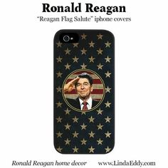 Ronald Reagan saluting the American flag: iphone / cell phone case design from www.LindaEddy.com