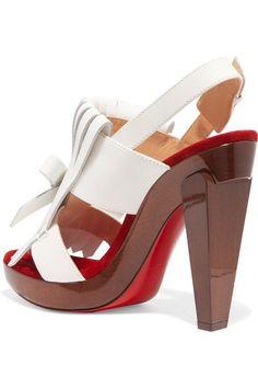 Christian Louboutin - Soclogolfi 120 Fringed Leather Platform Sandals - White - IT37